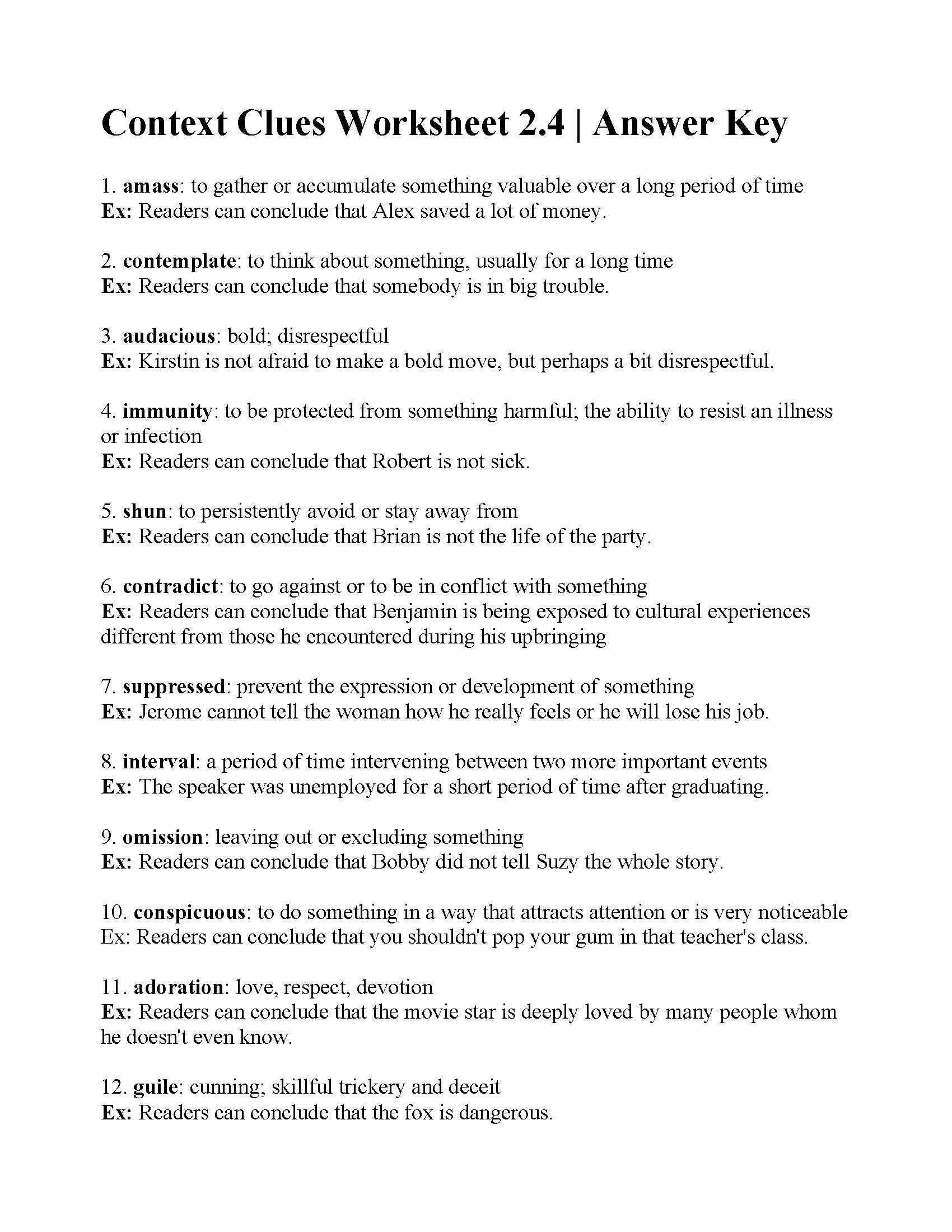 Context Clues Worksheet 2 4