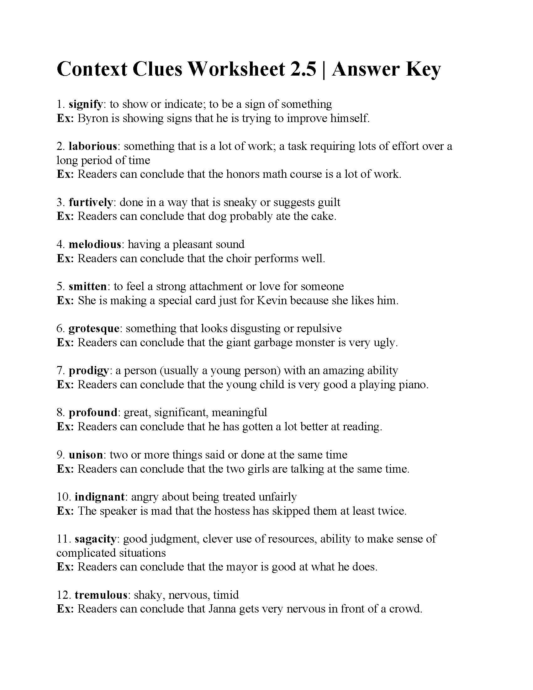 Context Clues Worksheet 2 5