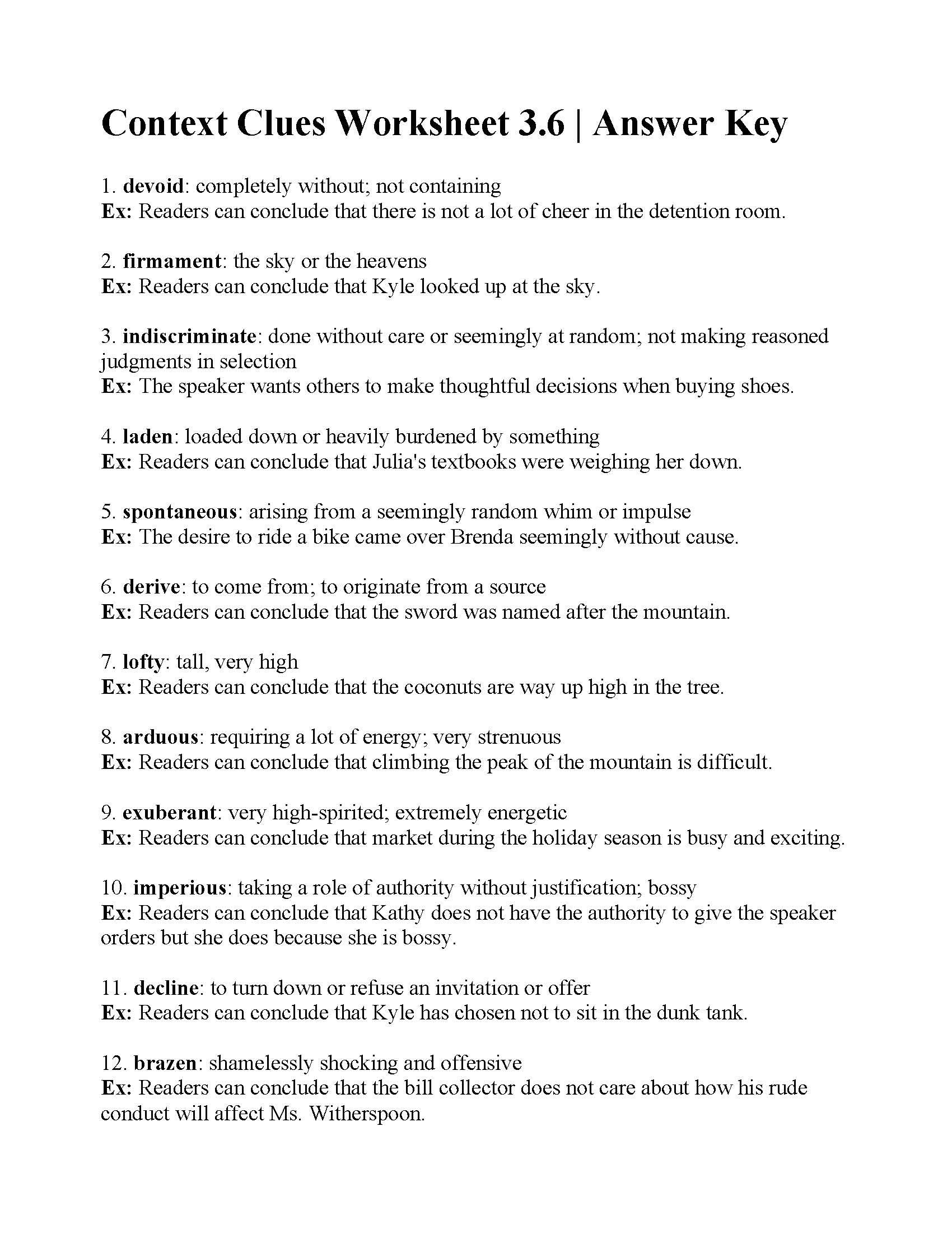 Context Clues Worksheet 3 6