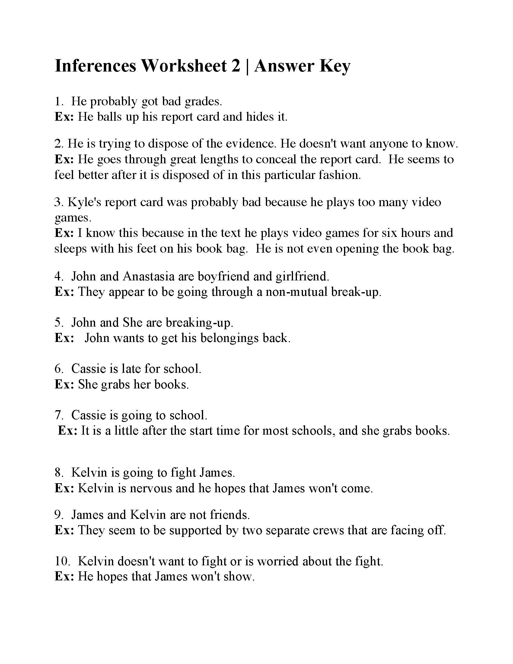 Inference Worksheet 9 Answers Key