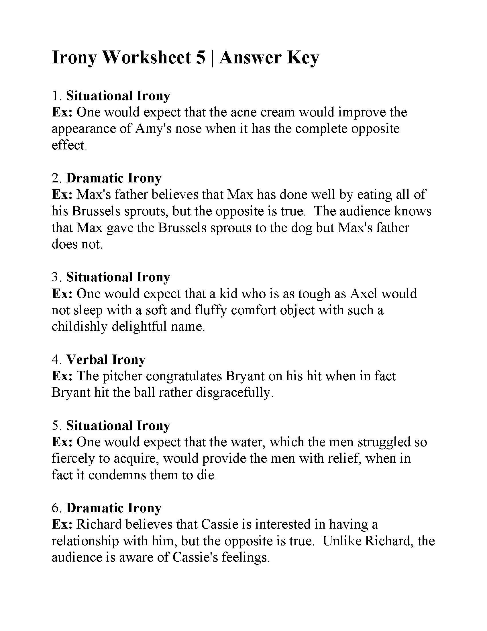 Irony Worksheet 5