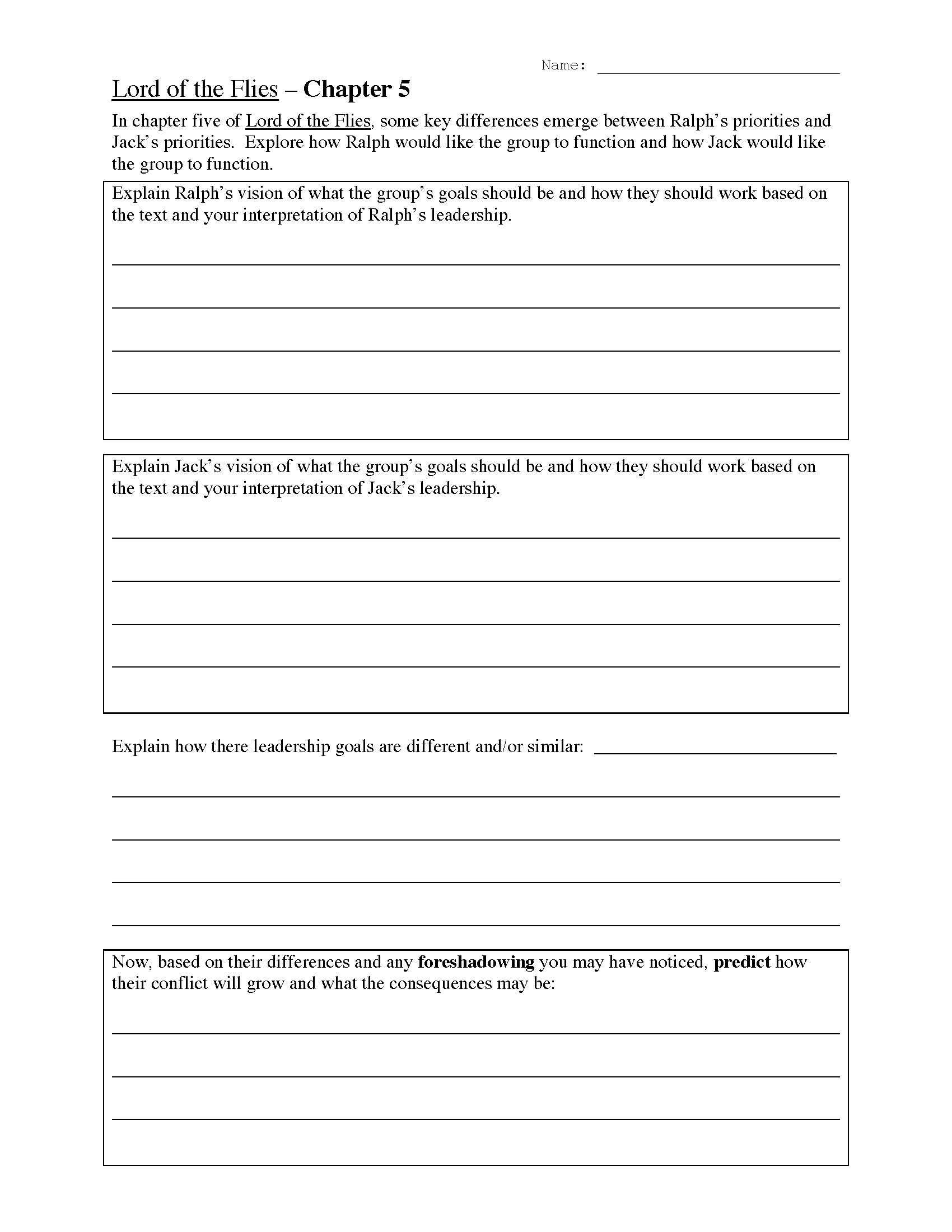 Lord Of The Flies Chapter Five Worksheet
