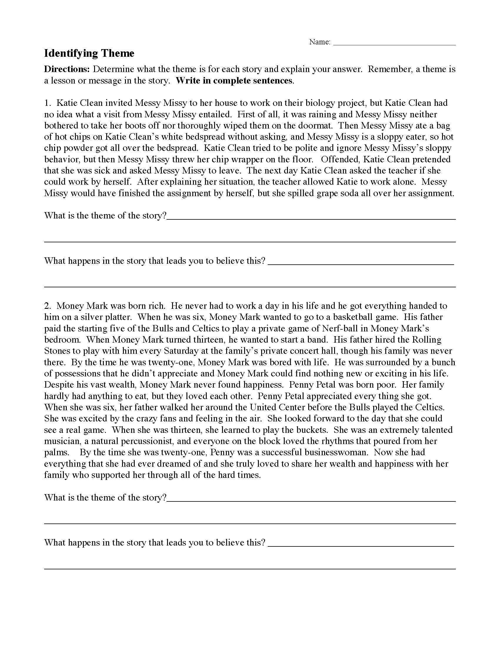 Theme Worksheet 1