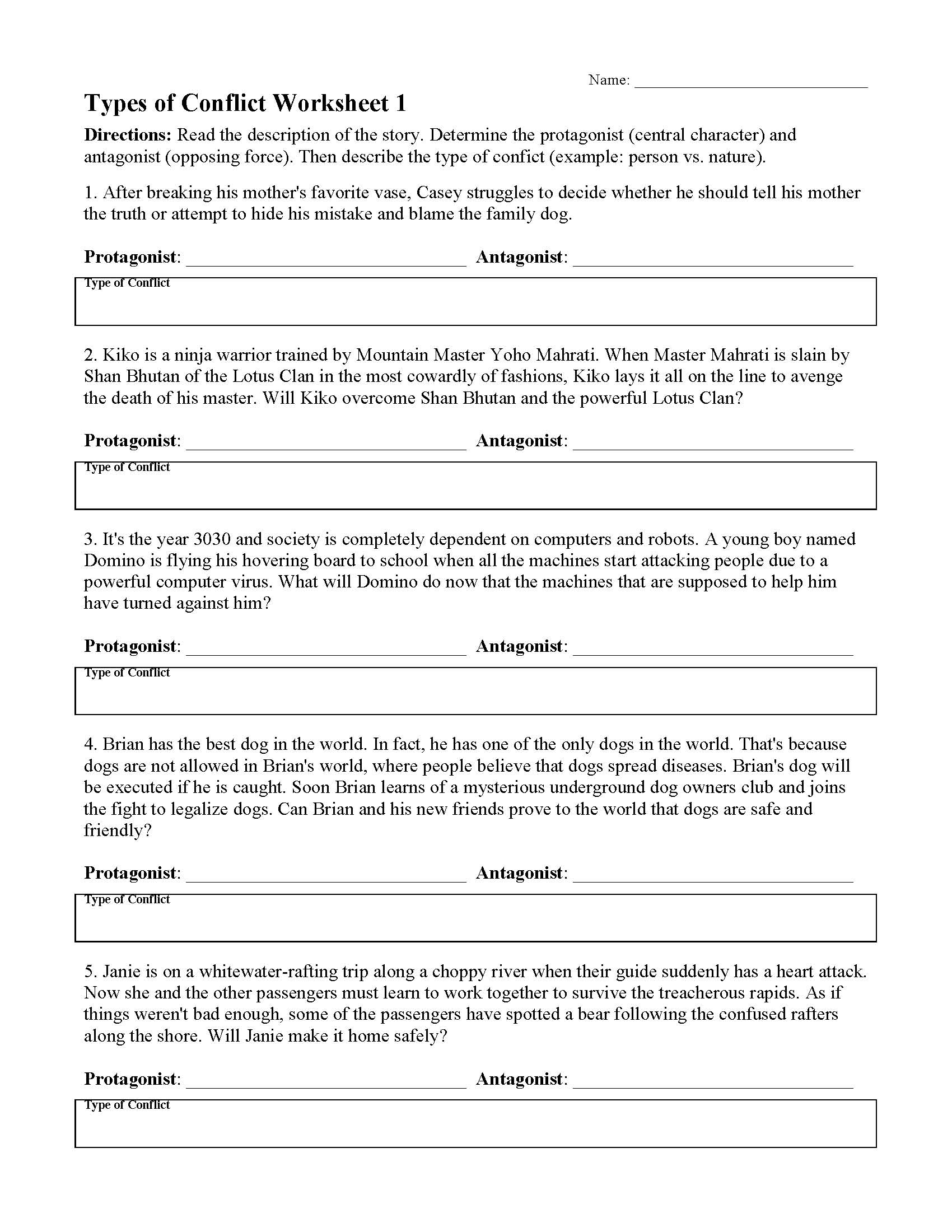 Character Types Worksheet 1