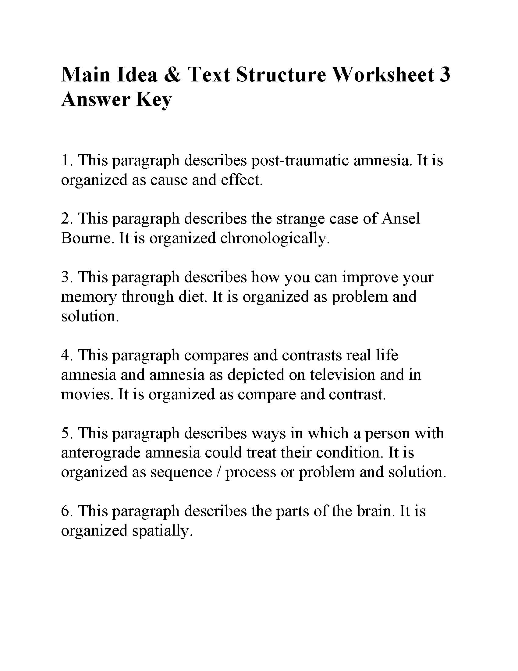Main Idea And Text Structure Worksheet 3