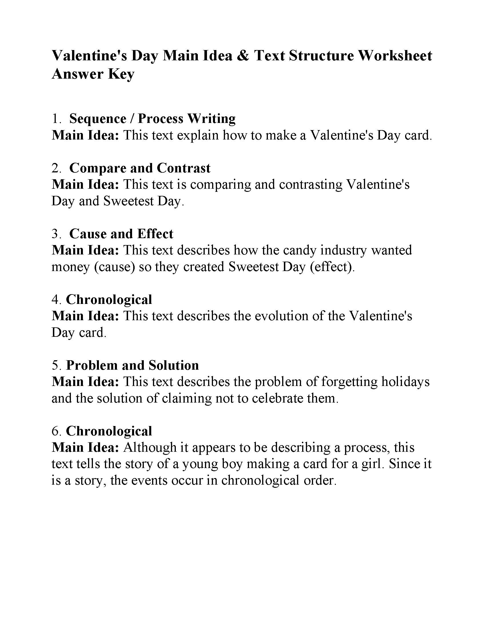 Valentine S Day Main Idea And Text Structure Review