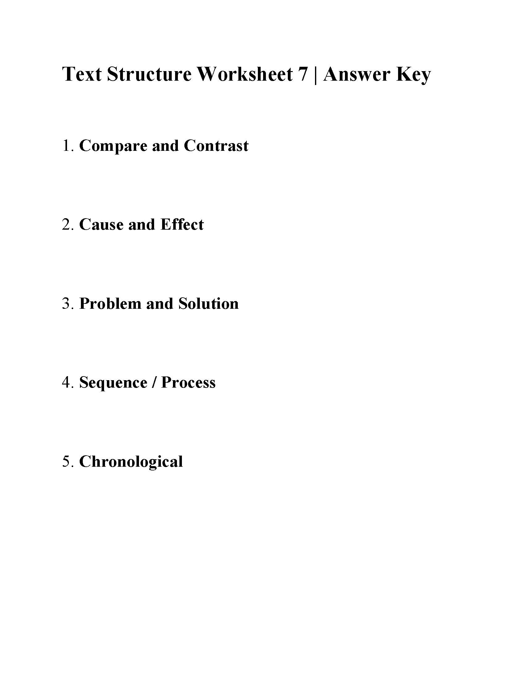 Text Structure Worksheet 7