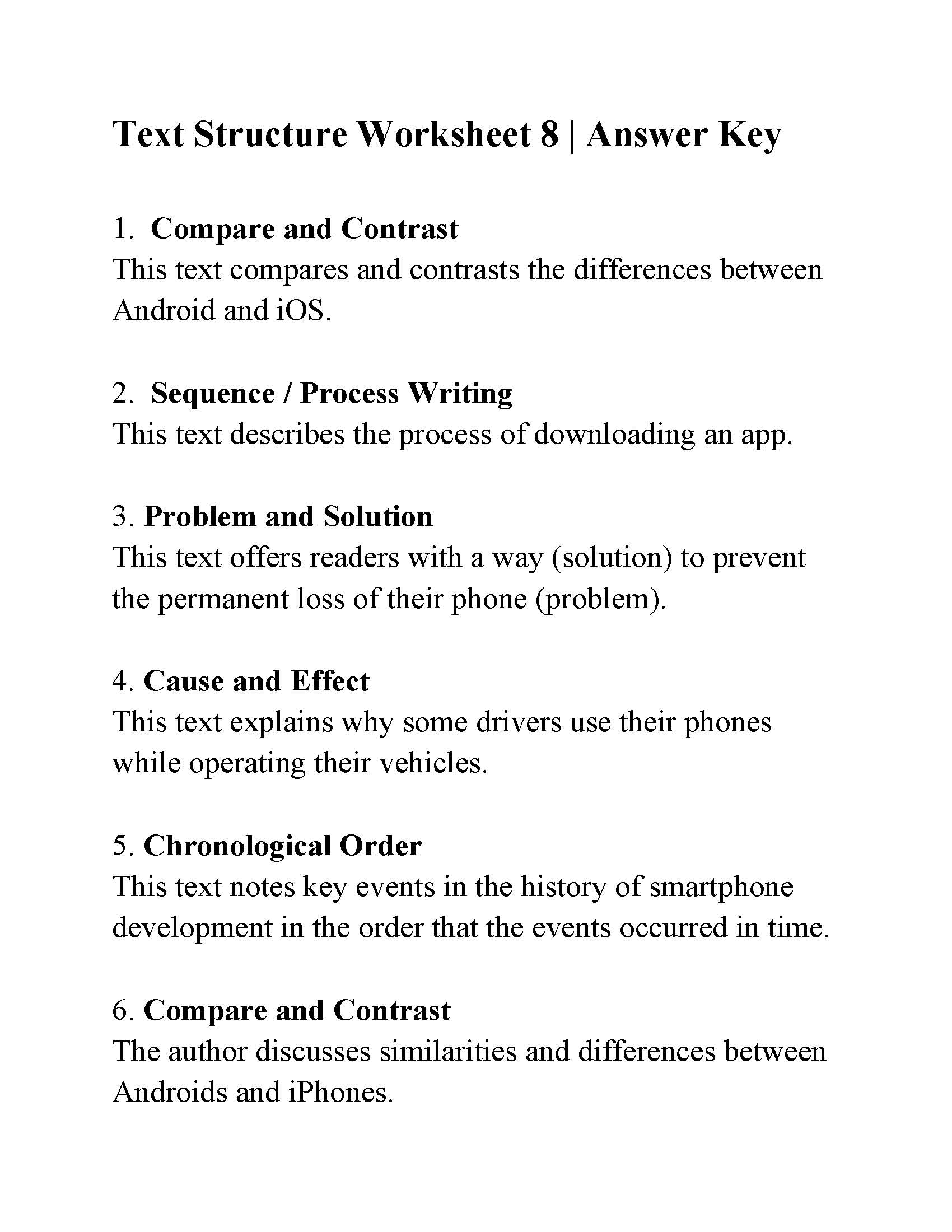 Text Structure Worksheet 8