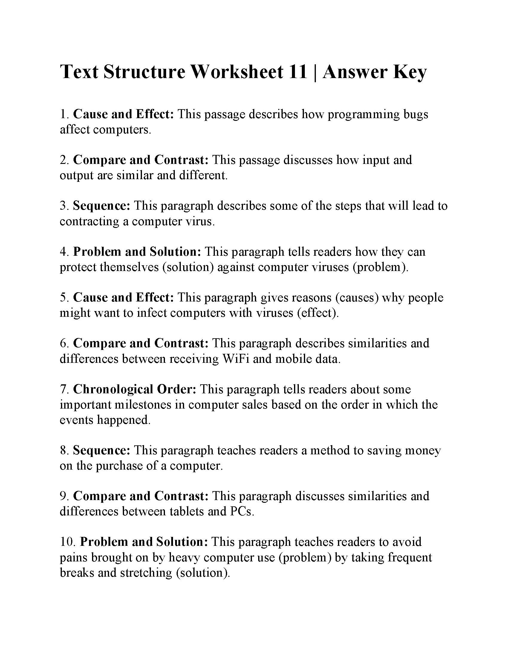 Lesson 11yzing Text Structures Grade 6 Answers