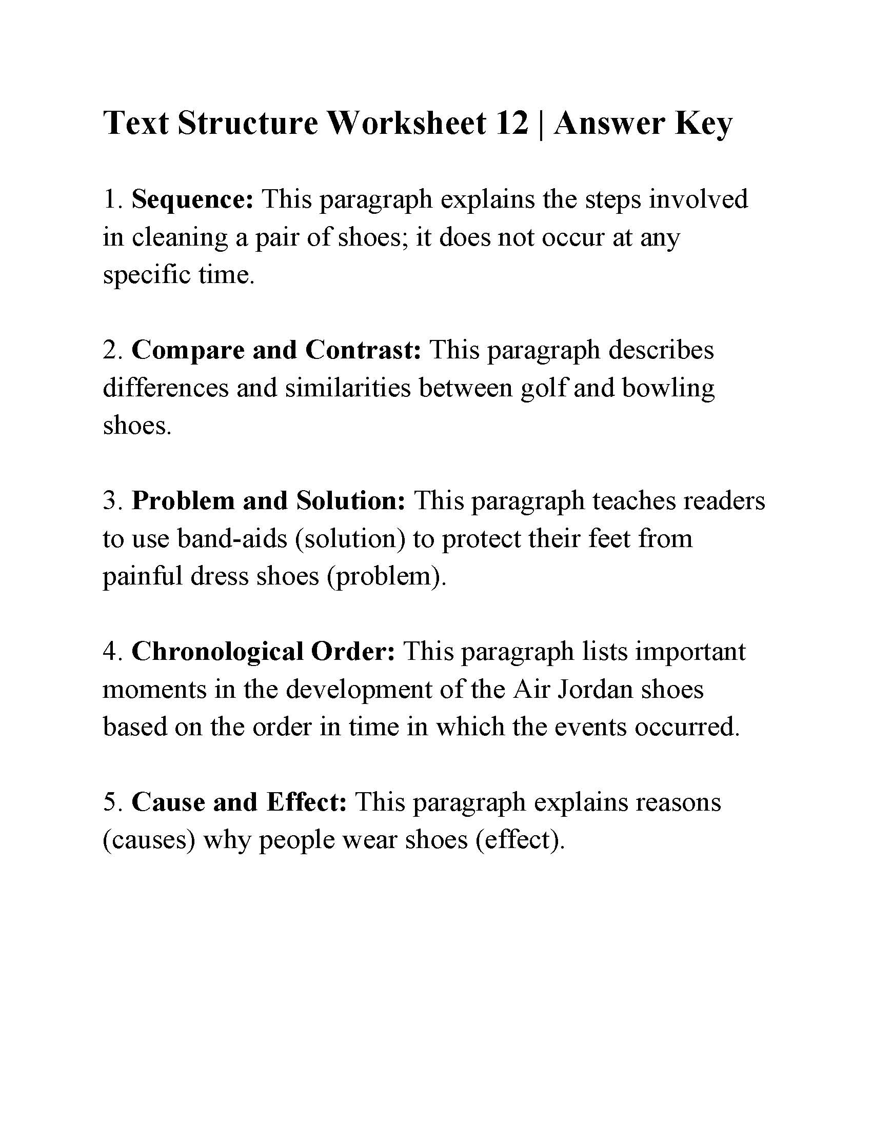 Text Structure Worksheet 12