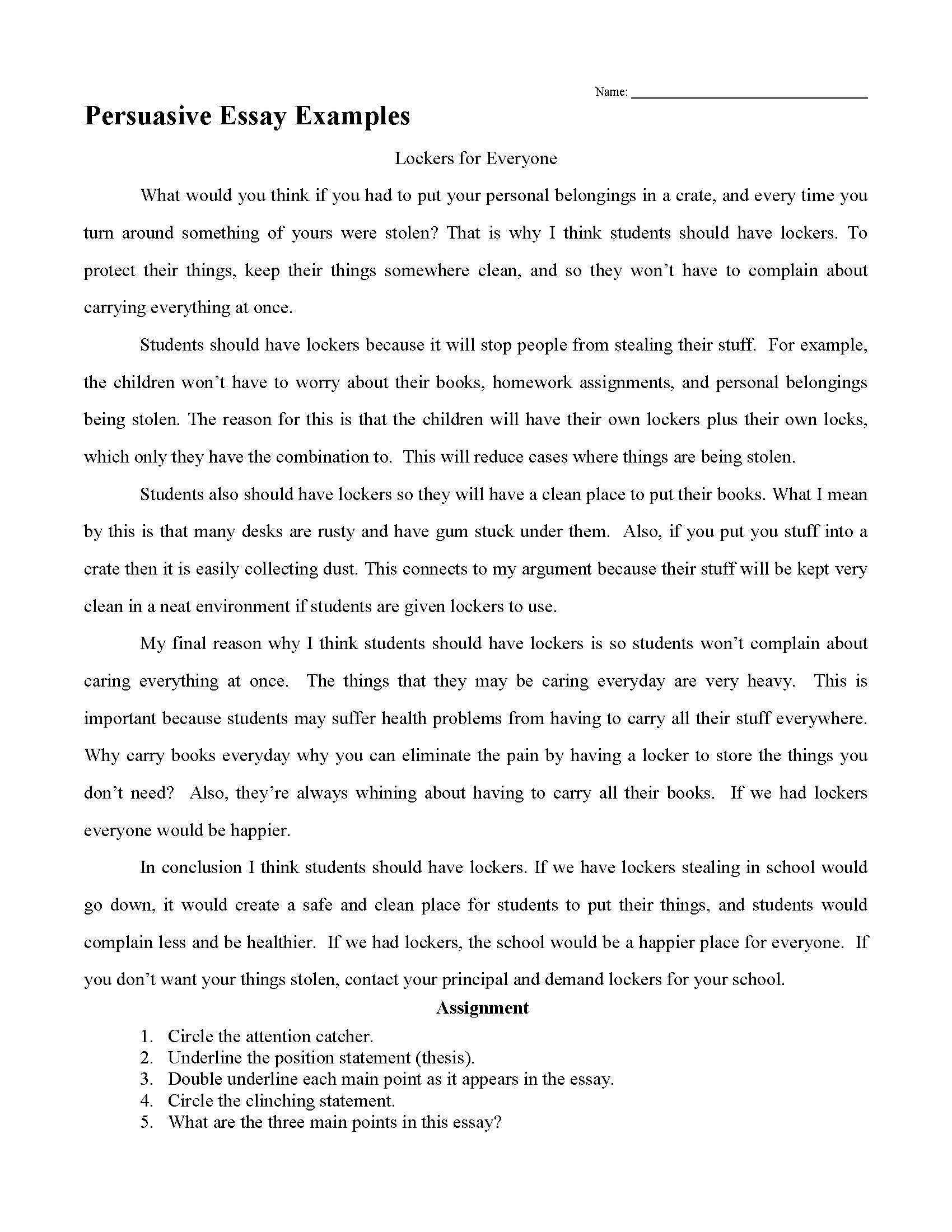 Examples On Persuasive Essays