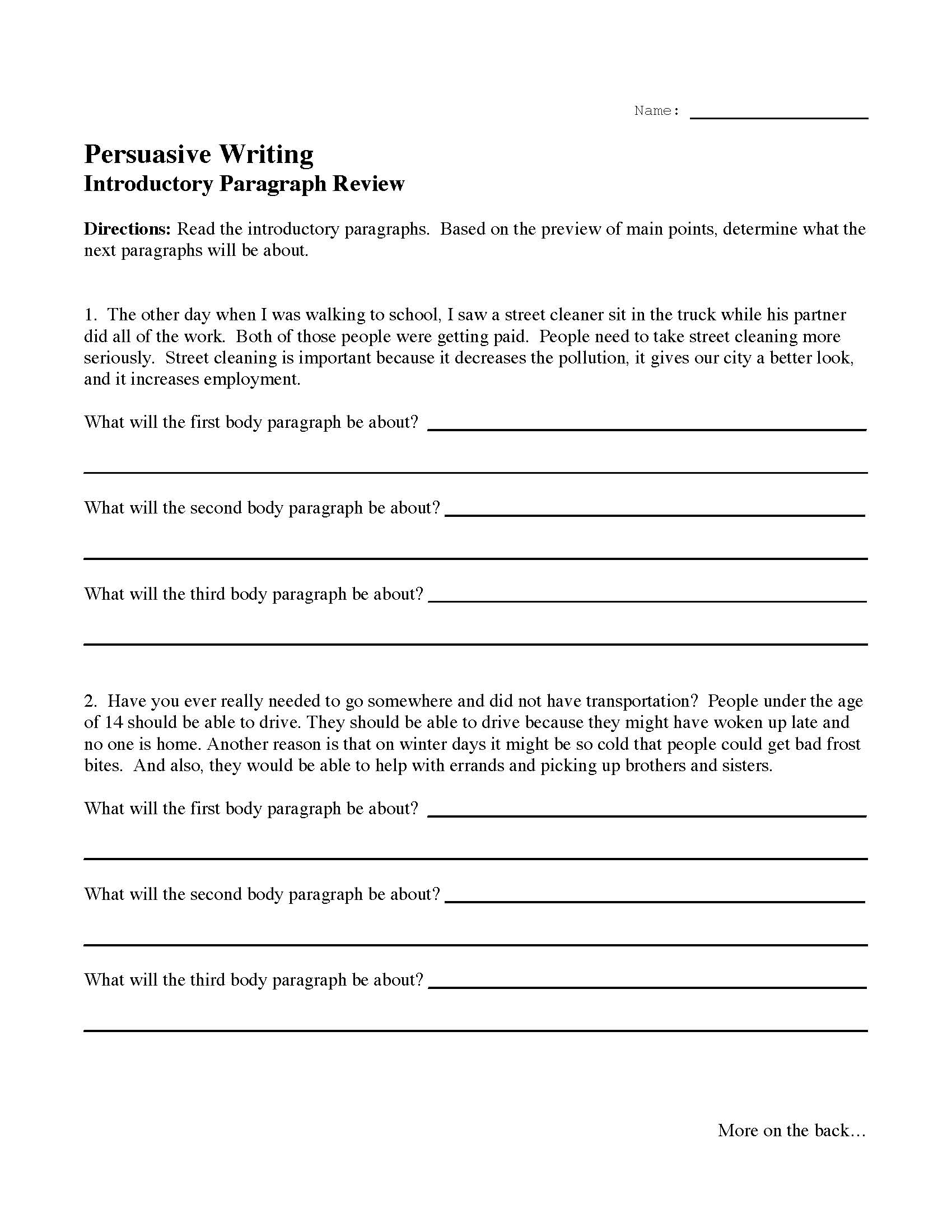 29 Writing An Introduction Paragraph Worksheet