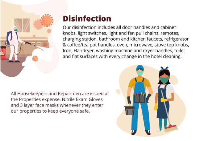 Disinfection: our disinfection includes all door handles, cabinet knobs, light switches, pull chains, remotes, charging station, faucets, refrigerator, coffee and tea pot, oven, microwave, stove, iron, hairdryer, washing machine and dryer, toilet, and flat surfaces with every change on the hotel cleaning. All housekeepers and repairmen are issued nitrile gloves and 3-layer face masks upon entering the property.