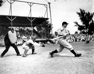 Hall of Famer Lou Gehrig and the Yankees playing the Boston Bees in St. Petersburg