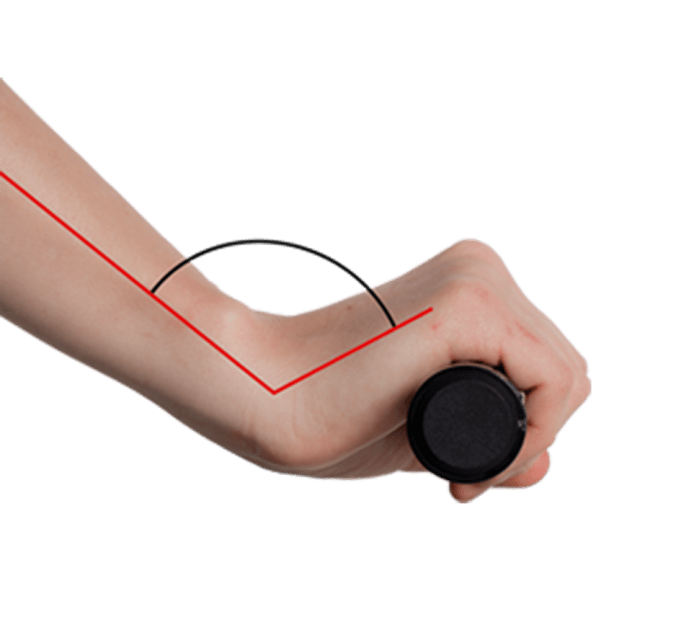 Schematic illustration of a hand gripping a standard MTB grip without wings. The wrist is strongly bent. The carpal tunnel nerve is pinched – shown in red.