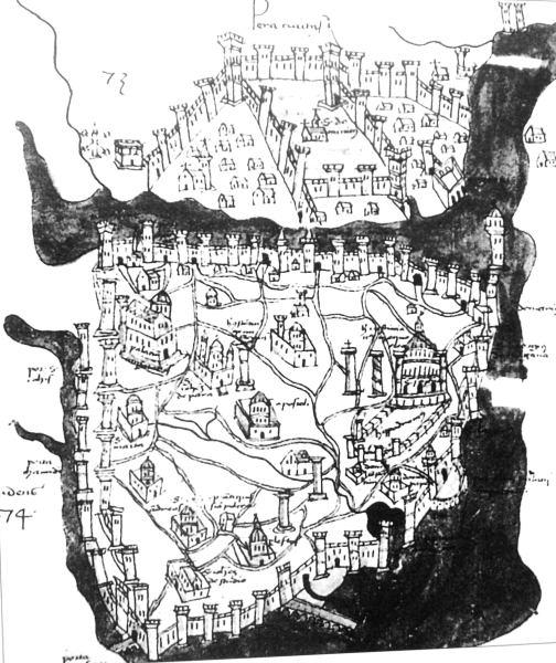 Boundelmonti nin İstanbulu 1420 yıılarında gösteren haritası