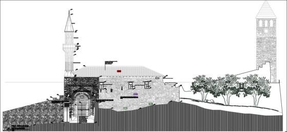 Sivri kemerli giriş portali ve caminin güney cephesi (şekil 16)