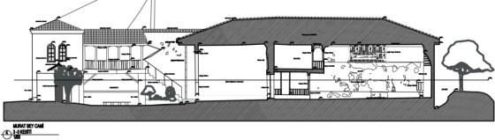 I-I Kesiti  Ana mekan, son cemaat mahali, avlu, abdestlik ve imam odası (şekil 3)