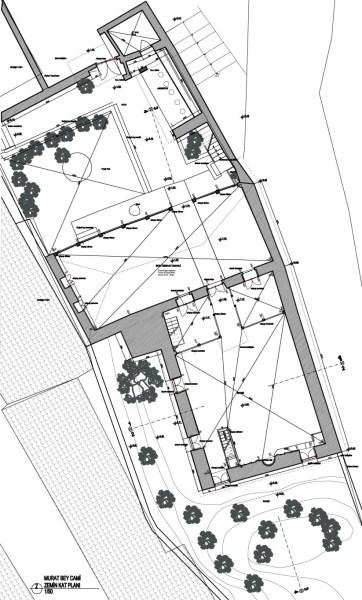 Zemin kat planı ana mekan, revaklı son cemaat mahalli, avlu, abdestlik (şekil 1)