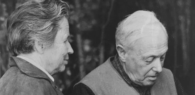 Margrit and Eugen Rosenstock-Huessy at Bob O'Brien's farm in Tunbridge, VT in 1958.