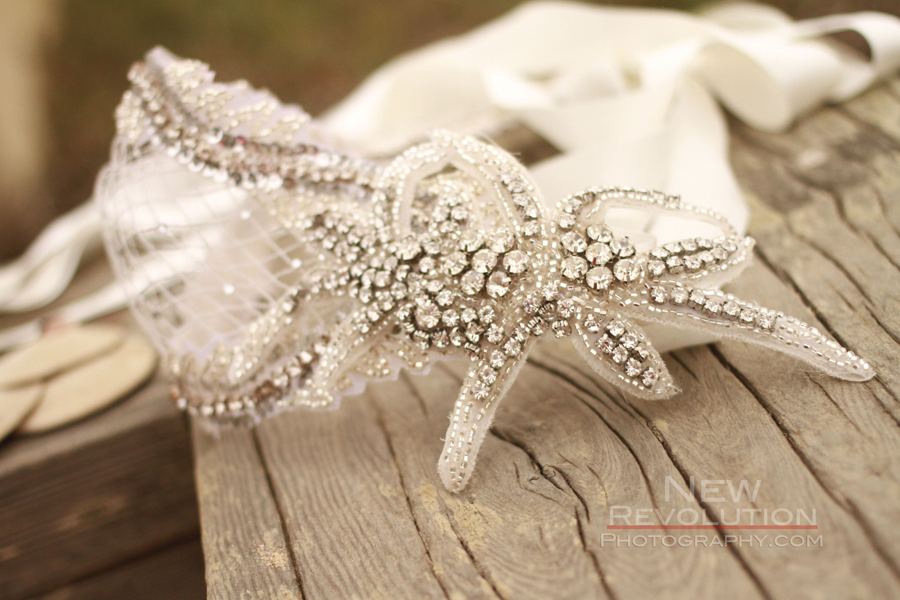 Deco beaded bridal cap