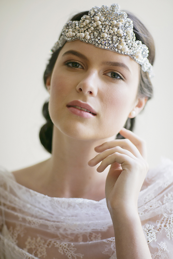 BEATRICE 1920s JEWELED RIBBON TIE HEADBAND