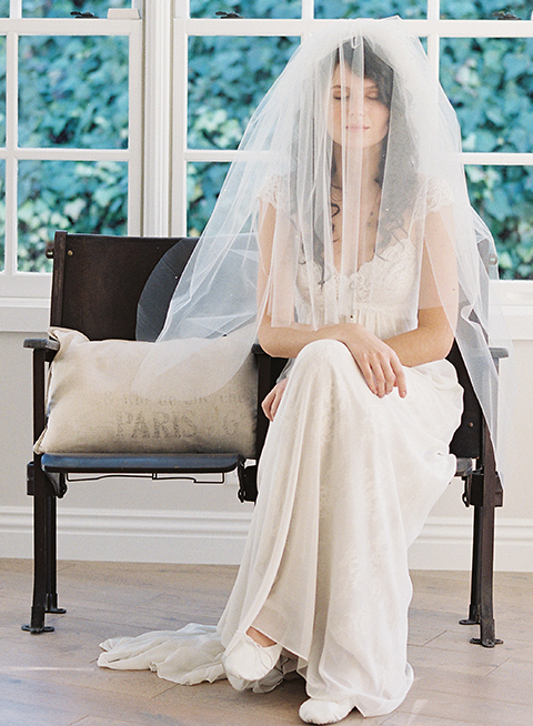 Waterfall blusher bridal veil