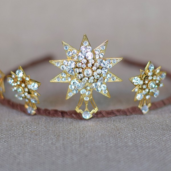 bridal star tiara, wedding tiara, 1920s starburst crown, wedding headpiece