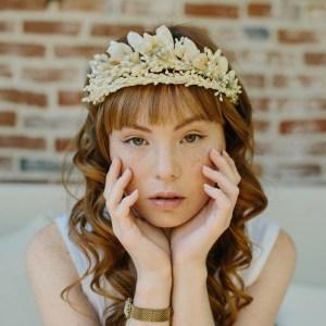Victorian wax wedding blossom crown