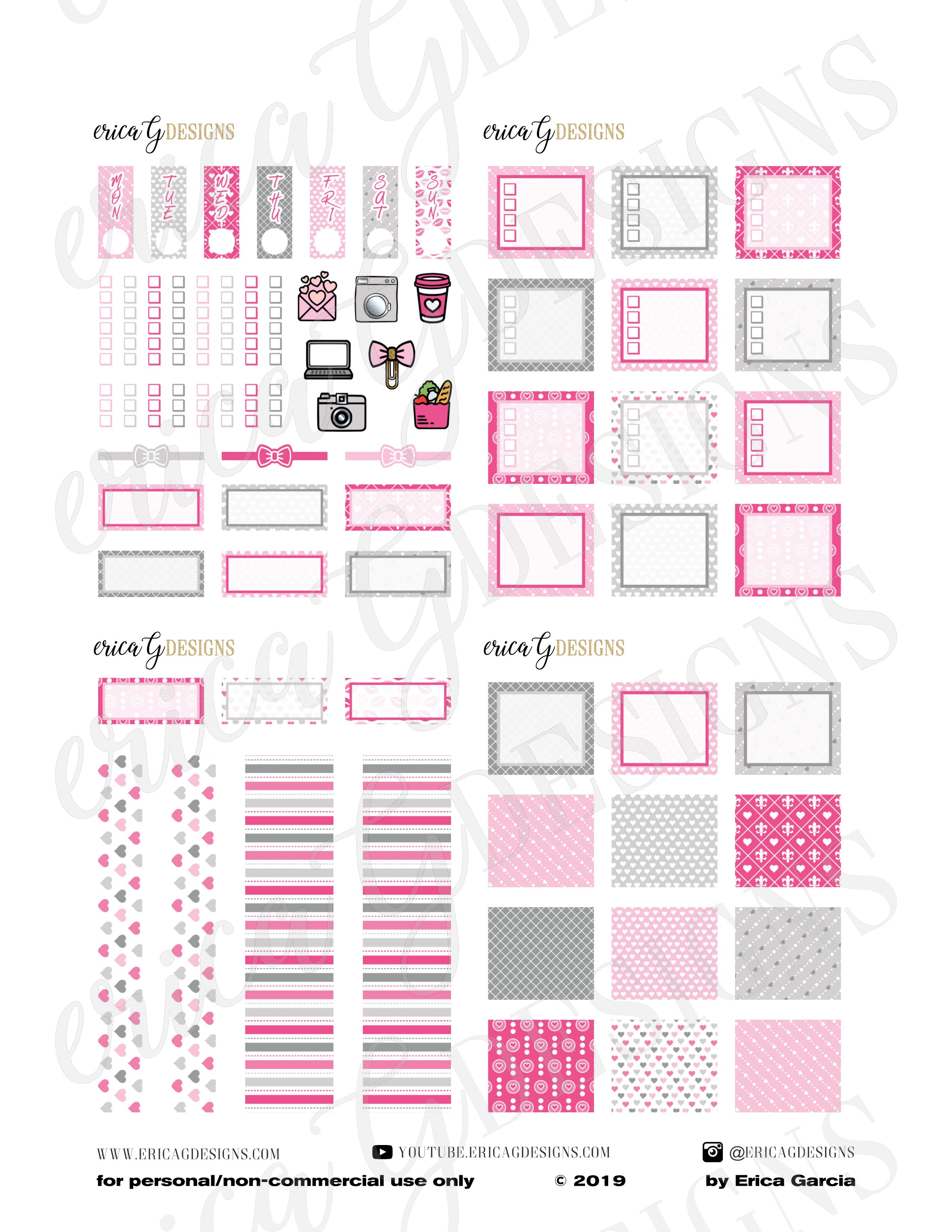 graphic about Printable Sticker titled Purple and Grey V-Working day Hobonichi Months Printable Sticker Package