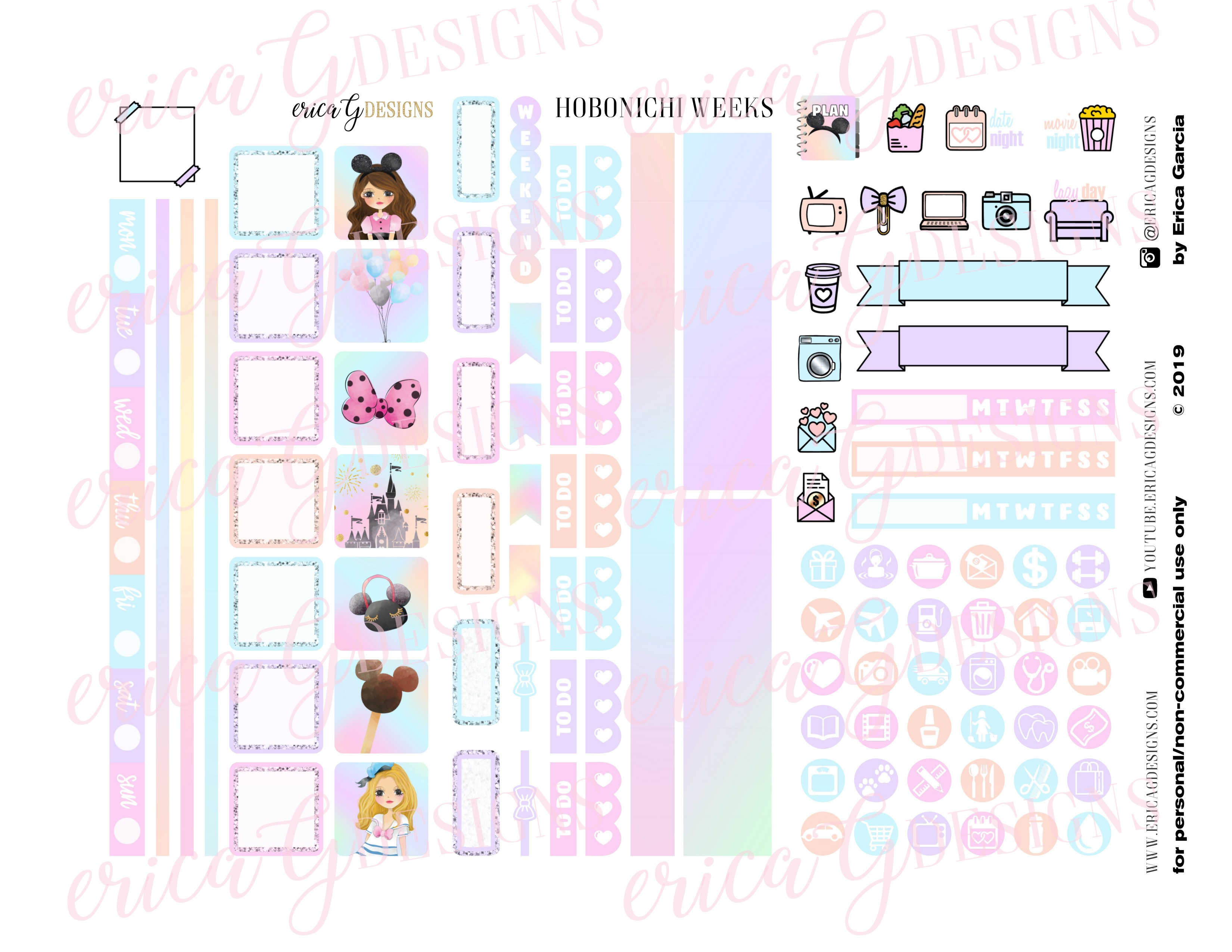 picture relating to Printable Sticker named Magical Working day Hobonichi Months Printable Sticker Package