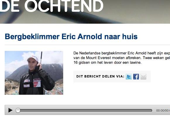 Radio 1 – Bergbeklimmer Eric Arnold naar huis  – De Ochtend