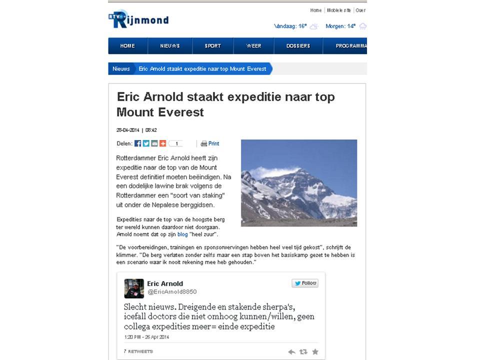 Eric Arnold staakt expeditie naar top Mount Everest