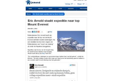 Eric Arnold staakt expeditie naar top Mount Everest