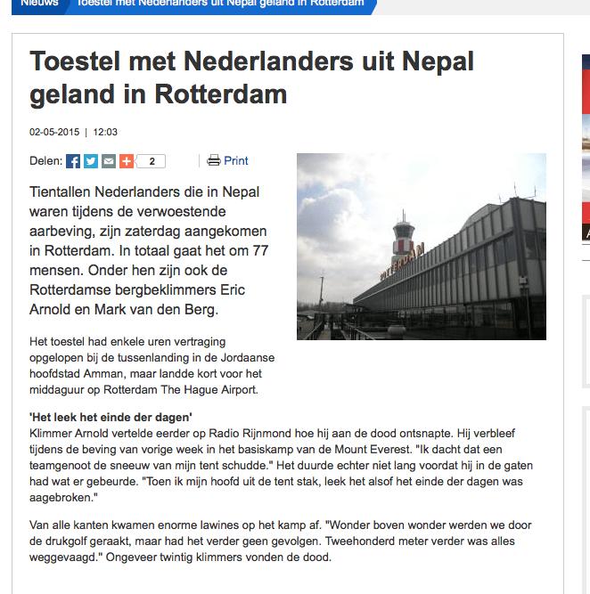 RTV Rijnmond – Toestel met Nederlanders uit Nepal geland in Rotterdam