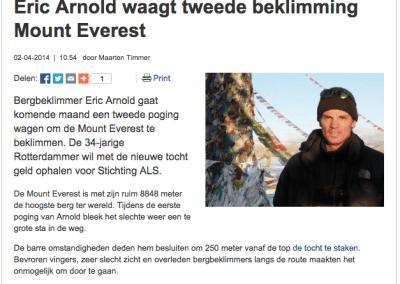 Eric Arnold waagt tweede beklimming Mount Everest