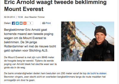 Eric Arnold waagt tweede beklimming Mount Everest