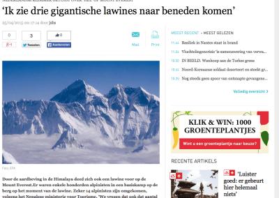 DeStandaard – 'Ik zie drie gigantische lawines naar beneden komen'