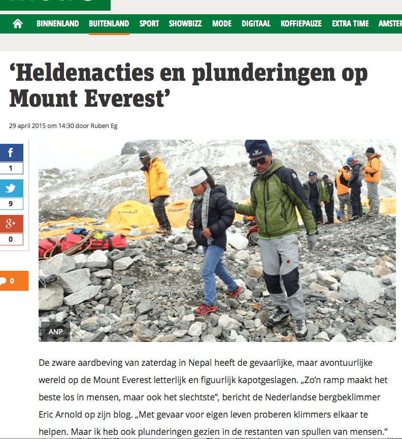 Metro – 'Heldenacties en plunderingen op Mount Everest'