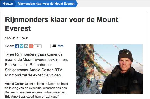 Interview Radio Rijnmond 17 april 2012: Bijna in het basiskamp aangekomen.