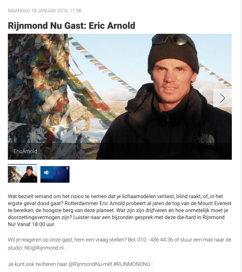 Rijnmond Nu Gast: Eric Arnold