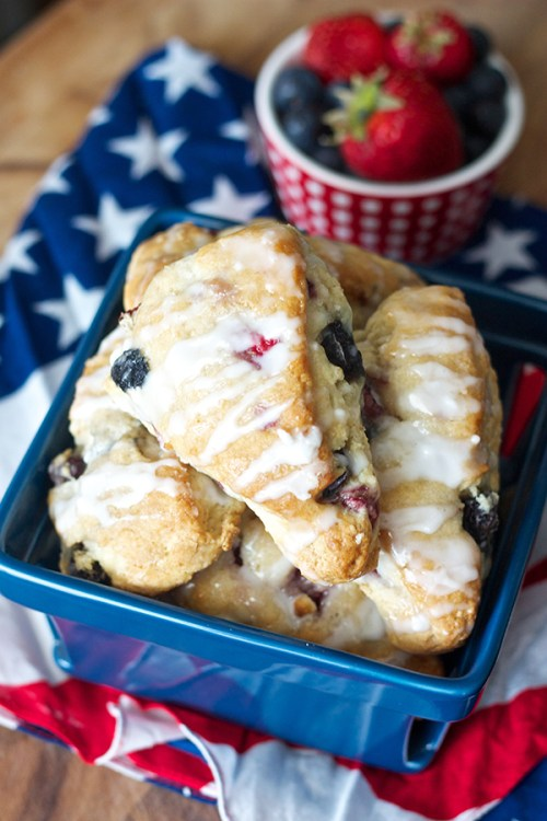 Berry Scones red white and blue breakfast food