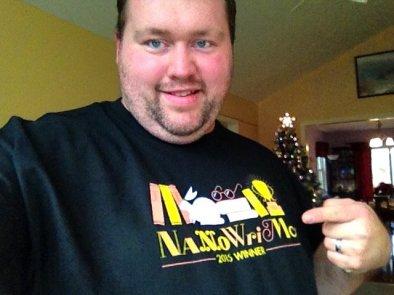 NaNoWriMo 2015 Winner Shirt Selfie