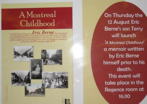 Poster for the release of A Montreal Childhood and the launch by Terry Berne