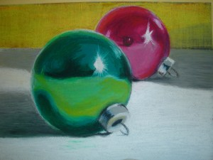 Christmas Ornaments (artwork in Oil Pastels)