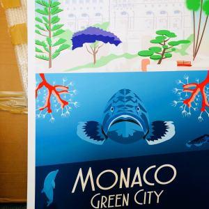 Monaco Mérou Musée Océanographique Affiche Collection Cote d'azur Affiche Rétro Coloré Grand Format Garence Minimaliste Déco Maison Style Design Nice Saint Tropez