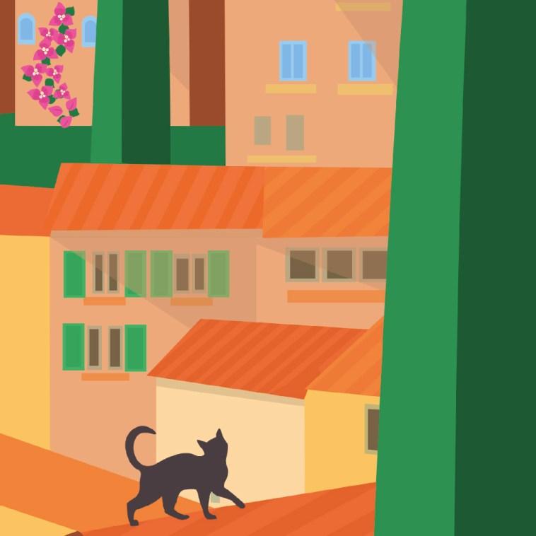 Bormes les mimosas Affiche Chirac Brégançon Garence Affiche artwork contemporrain cypres galerie art dessin pin parasol chat bougainvillier