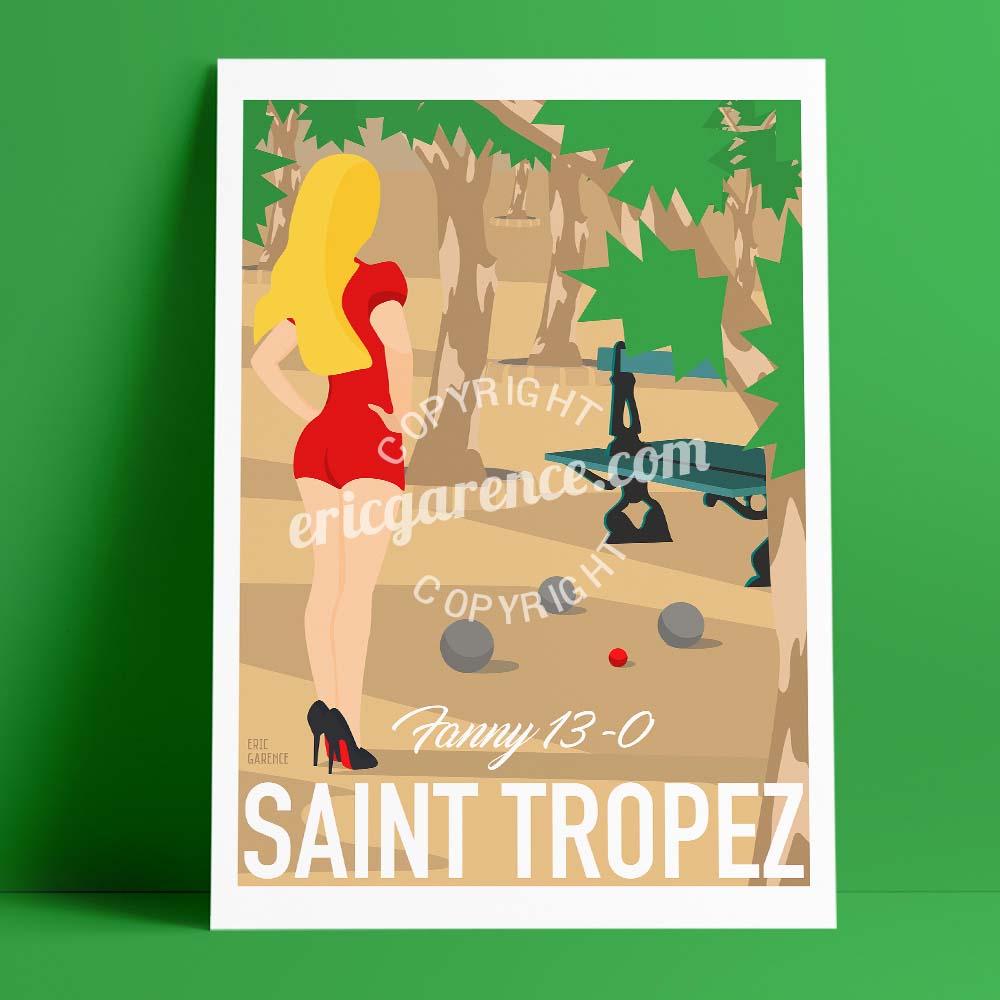 Affiche Fanny Saint Tropez Pétanque Var Provence Louboutins Garence Eric Affiche Poster artiste Galerie