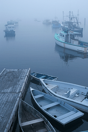 Boats in Fog, Paint Shop Pro Muted Reds Film Effect with Night Effect Filter, by Eric Holsinger