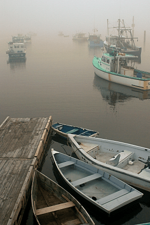 Boats in Fog, Paint Shop Pro Vivid Film Effect and Orange Filter Effect, by Eric Holsinger